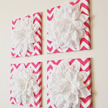 "MOTHERS DAY SALE Wall Decor -Set Of Four White Dahlias on Hot Pink and White Chevron 12 x12"" Canvases Wall Art- 3D Felt Flower"