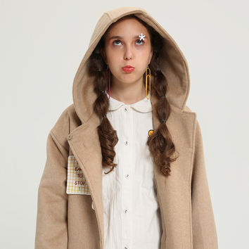 Tyakasha Planner Camel Hooded Long Woolen Coat