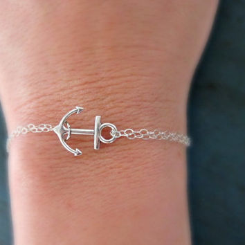 Silver Anchor Bracelet Sterling Silver chain Bridesmaid Gifts Girl Friend Gift nautical jewelry Navy Gift Cruise theme