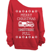 Merry Christmas Sh*tter's Full - Ugly Christmas Sweater - Red Slouchy Oversized CREW