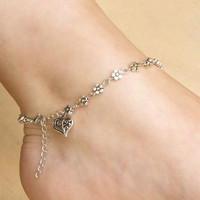 Trendy silver heart anklets for women ankle Bracelet on the leg trendy flower