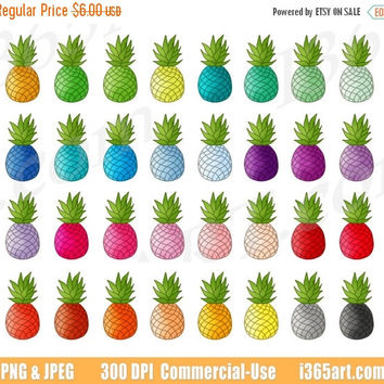 50% OFF Sale Pineapple Clipart, Pineapple Clip Art, Rainbow Pineapples, Pineapple Fruits, Planner Sticker Icon Graphics, Scrapbooking, PNG