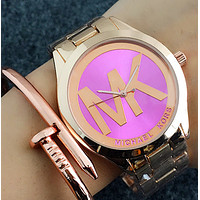 MK MICHAEL KORS Fashion Woman Casual  Quartz Movement Watch Wristwatch Gold W-Fushida-8899 Purple + Rose Gold