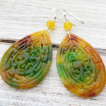 Orange drop earrings, carved jade earrings, 925 sterling silver earrings, dangle earrings, summer earrings, multicolor jewelry, gioielli