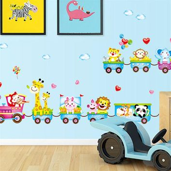 50*70cm Cartoon Wall Stickers For Kids Rooms Small Train Animal Decals Home Decor Colorful Poster New