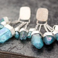 Aqua Aura Quartz Charm Earrings on Chains in by Specimental