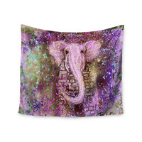 """Marianna Tankelevich """"Pink Dust Magic"""" Elephant Sparkle Wall Tapestry"""