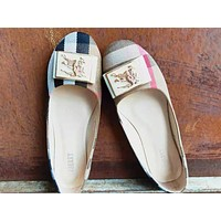 Burberry Women Flats Popular Boat Shoes Woman Casual Brand Single Shoes Apricot
