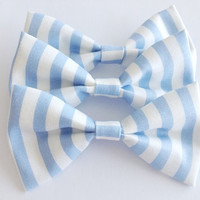 Baby Blue Striped Bow
