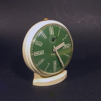 French vintage Bayard alarm clock. Green alarm clock. Retro alarm clock. Mid-century alarm clock.  Green and cream. Funky alarm clock