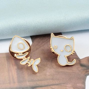 New Cartoon White Cat Fish Bone DIY Metal Brooch Vintage Enamel Pin Brooches For Women Denim Bag Badge Jewelry For Kids Boy Girl