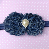 Denim headband for baby toddlers and little girls - Headband for girls - headband for babies - Christmas holiday - shabby chic