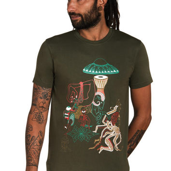 Alien T shirt- Ufo Shirt- Crop Circles- Ufo Mens T shirt- Mushroom T shirt- Octopus Shirt-Brain-Psychedelic-Trippy T shirt- Space Shirt