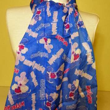 Mickey Mouse Scarf - Saxe blue scarf