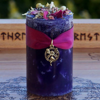FAERIE REALMS Pillar Candle w/ Soft Playful Florals, Sugared Vanilla, Honey, More for Faery Magick, Fairy Sight, Spring, Ostara, Beltane