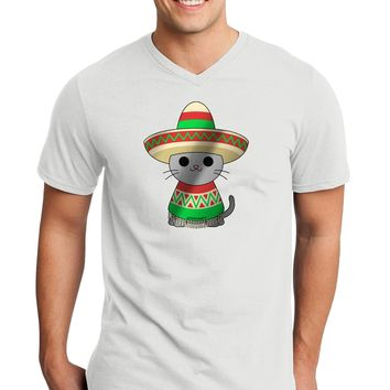 Sombrero and Poncho Cat - Metallic Adult V-Neck T-shirt by TooLoud