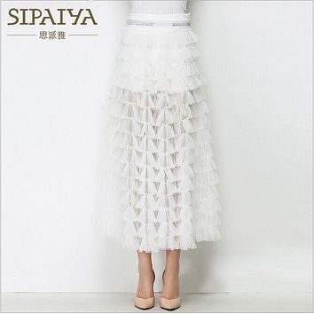SIPAIYA New Arrival Women's A Line Skirts Hollow Out Mesh Patchwork Cake Skirt Female Perspective Slim Office Lady Elegant Skirt