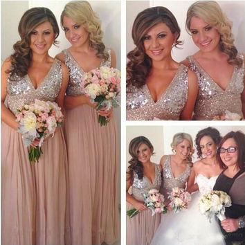 Sequins Chiffon V Neck Bridesmaid Dresses Plus Size Rose Gold Sparkly Maid of Honor Bridal Wedding Party Gowns Maternity 2015