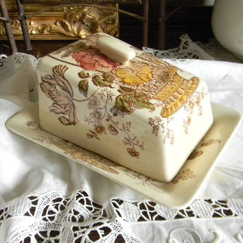 Brown Polychrome Transferware Cheese Keeper Covered Butter Dish Tray Charlotte