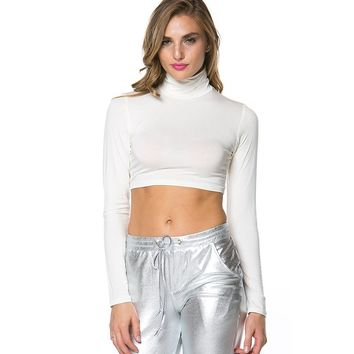 Solid Turtleneck Crop Top in White