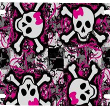 Skull n Bones Pink Bowtie Multiple-License Plate Car Tag