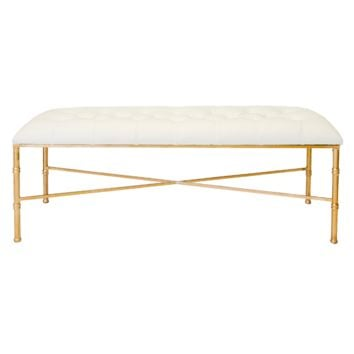 STELLA GOLD LEAFED BAMBOO BENCH | White
