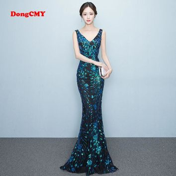 DongCMY WT1022 Prom dress New 2017 sexy fashion long party shiny Backless