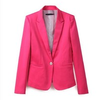 Vobaga Candy Women's Casual Blazer Suite One Button Lapel Outerwear Coat Jacket
