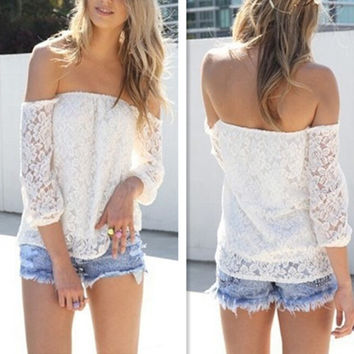 White Off Shoulder Sheer Mesh Lace Blouse