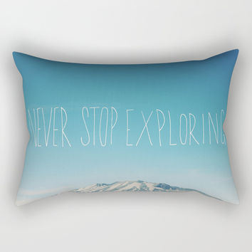 Never Stop Exploring: Mount Rainier Rectangular Pillow by Leah Flores