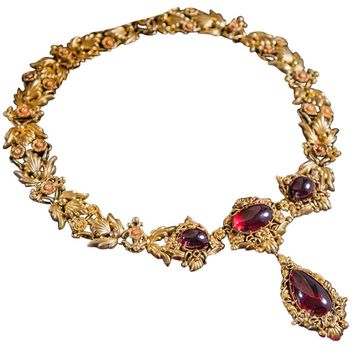 1840s English Garnet Gold Drop Necklace