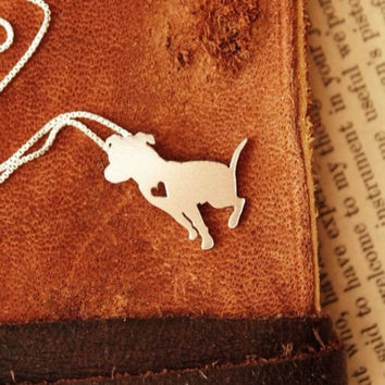 Sitting Pit Bull w/Heart 18K Gold Plated Necklace - Proceeds go to Pit Bull Rescue