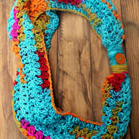 Crochet Multi-Color Ladies Cowl/Scarf - Turquoise, Orange, Red
