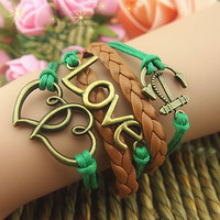 NT0104 Double Heart anchor Leather Bracelet