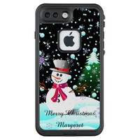 "Snowman ""Merry Christmas"" personalised LifeProof FRĒ iPhone 7 Plus Case"