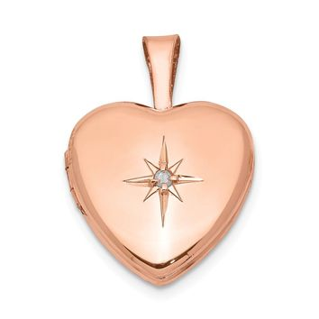 925 Sterling Silver Rose Gold-plated and Diamond Polished 12mm Heart Locket