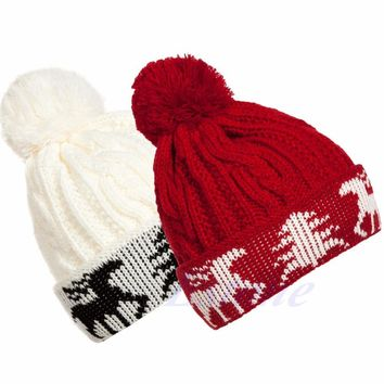 Female Christmas Tree Deer Pattern Knit Hat NEW Women Winter Warm Ball Cap Christmas Tree Deer Crochet Knitting Beanie Hat