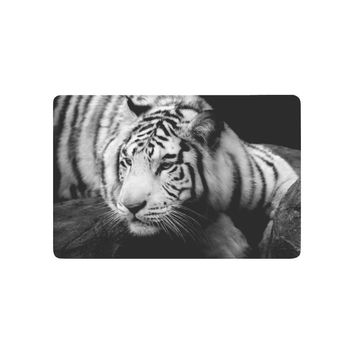 Autumn Fall welcome door mat doormat Wildlife Animal Anti-slip  Home Decor, Mysterious White Tiger Indoor Outdoor Entrance  Rubber Backing AT_76_7