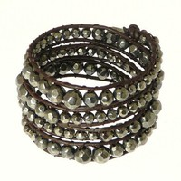 Brown Leather Cord Gun Metal Grey Colour Metal Beads Wrap Leather Bracelet Wristband Surf
