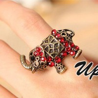 Vintage Red Rhinestone Elephant Ring at gofavor.com