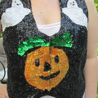 Tacky Sweater, Pumpkin Sweater, Halloween Sweater, sweater vest, halloween vest, pumpkin vest.