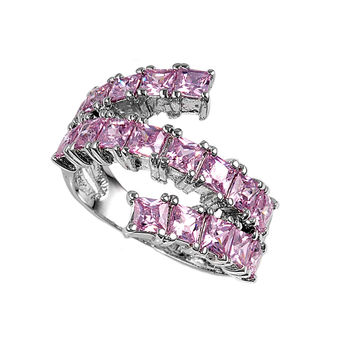 925 Sterling Silver CZ Princess Cut Rows Pink Ring 8MM