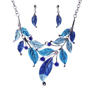 Bohemian Classic Color Foliage Imitation Diamonds Female Pendant Necklace Alloy Jewelry