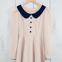 Schoolhouse Manner Long Sleeve Contrast Peter Pan Collar Dress in Beige/Dark Navy | Sincerely Sweet Boutique