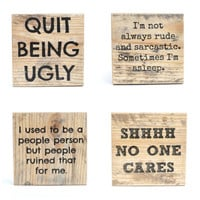 Rude Pallet wood coasters. Unique Wood coasters. Funny Coasters. Set of 4 Housewarming gift. Hostess gift