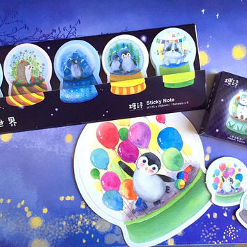 mini Water Globe sticky note mini music globe christmas snow globe penguin polar bear cat hedgehog animal glass globe die cut sticker memo
