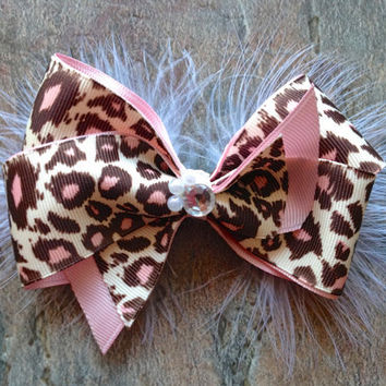 "Pink Cheetah Bow- Baby/Toddler/Child Headband- Hair Clip- ""Cheetah Girl"""