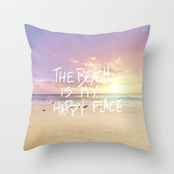 "Beach pillow,18x18 or 22x22 pillow ""The beach is my happy place"",purple,typography,ocean pillow,seagulls,home decor,nautical decor,pastel"