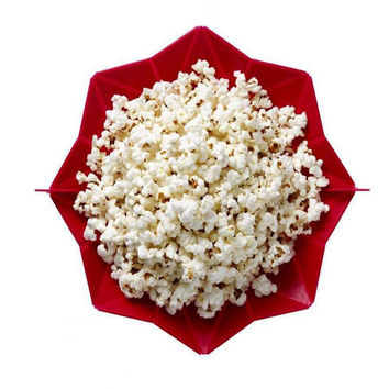 1 Pc DIY Red Microwave Oven Popcorn Food-gread Silicone Bowl