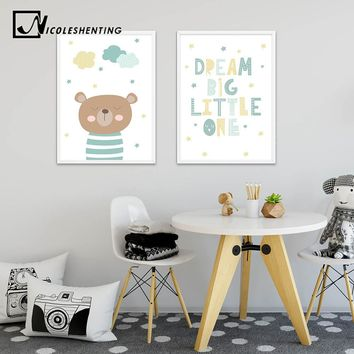 Cartoon Bear Baby Nursery Wall Art Canvas Painting Minimalist Posters Prints Nordic Kids Decoration Pictures Living Room Decor